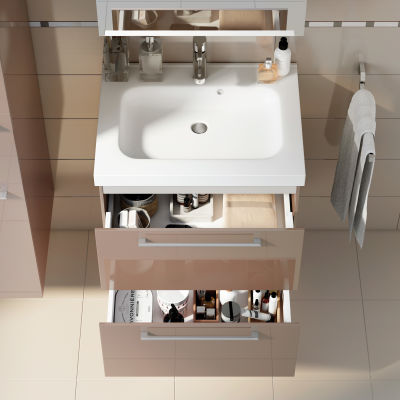 Mobile bagno Remix 2 cassetti L 61 x P 48.5 x H 58 cm talpa lucido ...