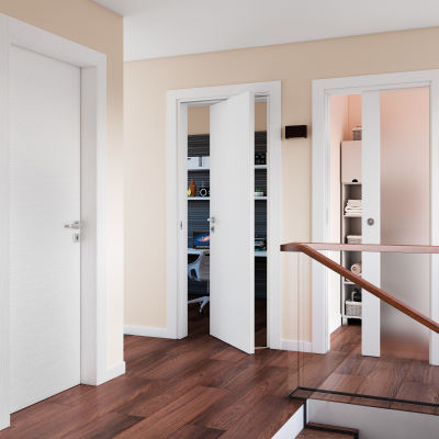 Porta da interno scorrevole Plaza Frassino bianco 80 x H 210 cm ...