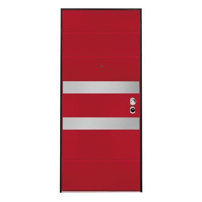 Porta blindata Maxima rosso con inserti in acciaio L 90 x H 210 cm ...