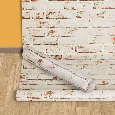 Carta da parati mattoni beige 10 m prezzi e offerte online for Rotolo carta da parati adesiva