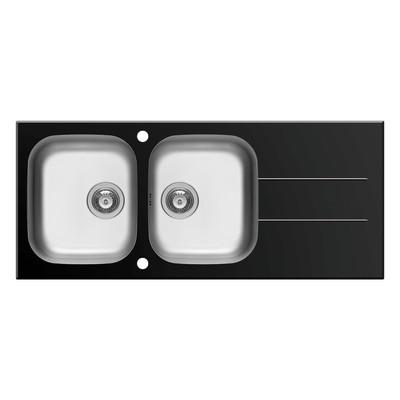 lavello incasso concerto nero l 116 x p 50 cm 2 vasche + ... - Lavello Cucina 2 Vasche