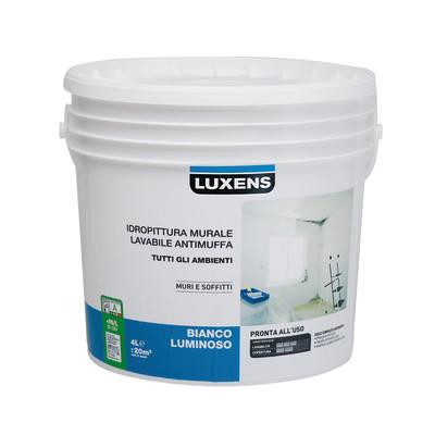 Idropittura murale bianca luxens antimuffa 4 l prezzi e for Pittura lavabile prezzi leroy merlin
