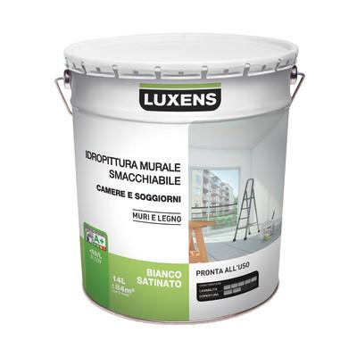Idropittura murale bianca luxens smacchiabile 14 l prezzi for Pittura lavabile prezzi leroy merlin