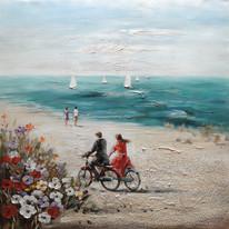 quadro dipinto a mano Bici in spiaggia 100x100