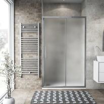 Porta doccia scorrevole Record 102-106, H 195 cm vetro temperato 6 mm satinato/silver lucido