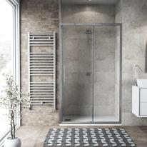 Porta doccia scorrevole Record 112-116, H 195 cm vetro temperato 6 mm trasparente/silver lucido