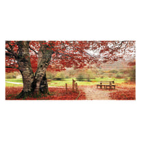 Quadro in legno Red bench 50x110