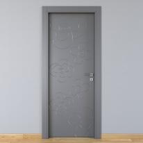 Porta da interno battente Flower ash cenere 80 x H 210 cm sx