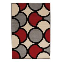 Tappeto Opera sixties grigio, rosso, beige 150 x 220 cm