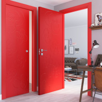 Porta da interno battente Flower red rosso 80 x H 210 cm dx