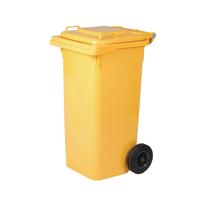Bidone con ruote giallo Lucido 120 L