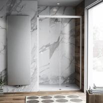 Porta doccia scorrevole Neo Plus 167-169, H 200 cm vetro temperato 6 mm trasparente/bianco opaco