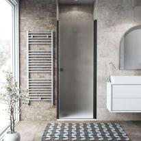 Porta doccia battente Neo 82-86, H 201,7 cm vetro temperato 6 mm nero