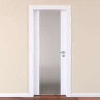 Porta da interno battente Plaza Vetro frassino bianco 80 x H 210 cm sx