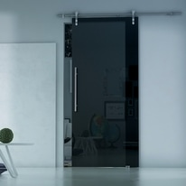 Porta da interno scorrevole Lux Fumè 86 x H 215 cm sx