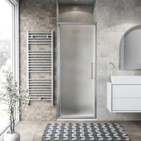 Porta doccia battente Record 67-71, H 195 cm vetro temperato 6 mm satinato/silver lucido