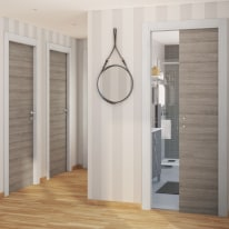 Porta da interno battente One grigio/white 80 x H 210 cm reversibile