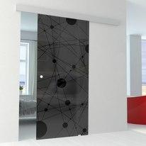 Porta da interno scorrevole Euclide Fumè/binario Alu 76 x H 215 cm reversibile