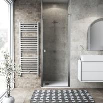 Porta doccia battente Neo 92-96, H 201,7 cm vetro temperato 6 mm trasparente/cromo PVD