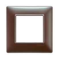 Placca 2 moduli Vimar Plana marrone micalizzato