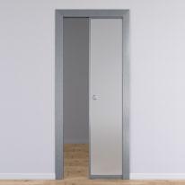 Porta per ufficio scorrevole Office vetro temperato bianco satinato 70 x H 210 cm reversibile