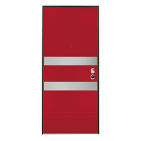 Porta blindata Maxima rosso con inserti in acciaio L 80 x H 210 cm dx