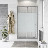 Porta doccia scorrevole Quad 137.5-140, H 190 cm cristallo 6 mm serigrafato/silver