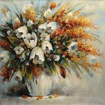 dipinto su tela Vaso fiori 100x100