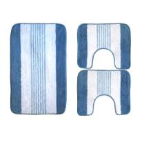 Set tappeti bagno Rigatino azzurro