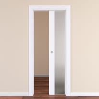 Porta da interno scorrevole Plaza Vetro Frassino bianco 80 x H 210 cm reversibile
