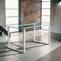 Tavolo Synergo metallo e vetro L 160 x P 80 x H 75 cm trasparente