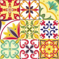 Quadro in vetro Flower tiles 28x28