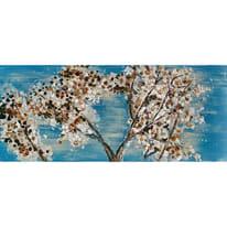 dipinto su tela Fiori sfondo blu 65x150