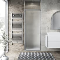 Porta doccia battente Record 97-101, H 195 cm vetro temperato 6 mm satinato/silver lucido