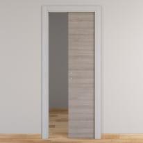 Porta da interno scorrevole One grigio/white 90 x H 210 cm reversibile