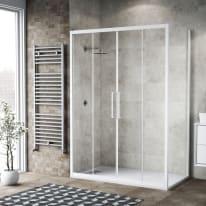 Doccia con porta scorrevole e lato fisso Record 142 - 146 x 77 - 79 cm, H 195 cm vetro temperato 6 mm trasparente/bianco opaco