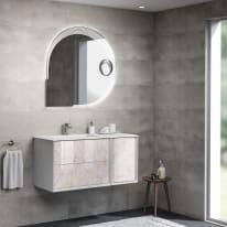 Mobile bagno Devon bianco con frontale light pink stone L 105 cm