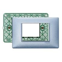 Placca 3 moduli Vimar Plana blu metal