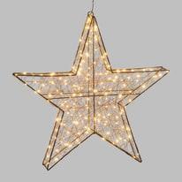 Decorazione luminosa stella 3d 180 minilucciole Led classica gialla 1 m