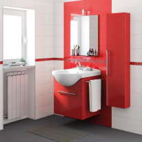 Mobile bagno Ginevra Rosso Lampone L 58 cm