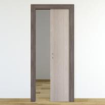 Porta da interno scorrevole One frassino/brown 90 x H 210 cm reversibile