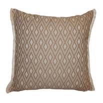 Cuscino grande Rombo Sako marrone frange bianco 60 x 60 cm