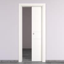 Porta da interno scorrevole Two Lines bianco 80 x H 210 cm reversibile