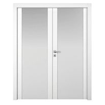 Porta da interno battente Plaza 2 Ante Frassino Bianco 160 x H 210 cm dx
