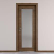 Porta da interno battente Stenophylla vetro cacao 70 x H 210 cm reversibile