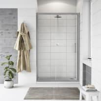 Porta doccia scorrevole Quad 147.5-150,5, H 190 cm cristallo 6 mm trasparente/silver