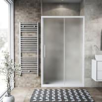 Porta doccia scorrevole Record 107-111, H 195 cm vetro temperato 6 mm satinato/bianco opaco