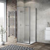 Doccia con porta pieghevole e lato fisso Record 92 - 96 x 77 - 79 cm, H 195 cm vetro temperato 6 mm satinato/silver lucido