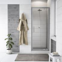 Porta doccia battente Quad 77.5-79, H 190 cm cristallo 6 mm trasparente/silver