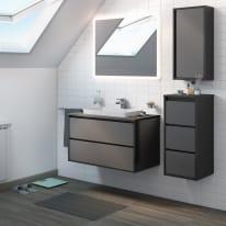 Mobile bagno Loto grigio antracite con frontale in vetro L 90 cm